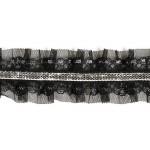Тесьма рюш арт.TBY CS-15 2-стор. шир.40мм цв.черный уп.13.71м